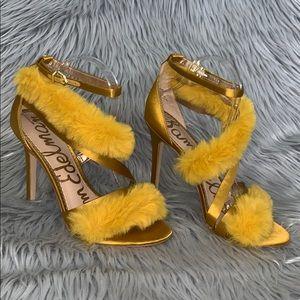 Sam Edelman satin & fur trim strapy sandals heels